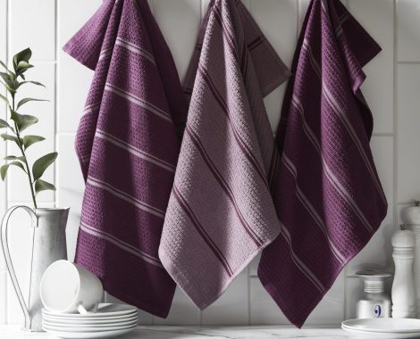 Purple stripe tea towels insitu